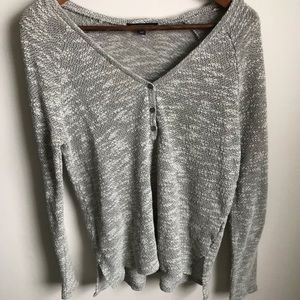 American Eagle Half Button Up Long Sleeve T Shirt